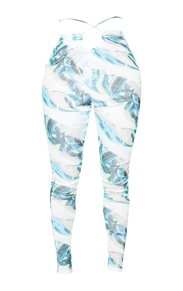 Shape Blue Marble Print Sheer Mesh Ruched Front Leggings 5