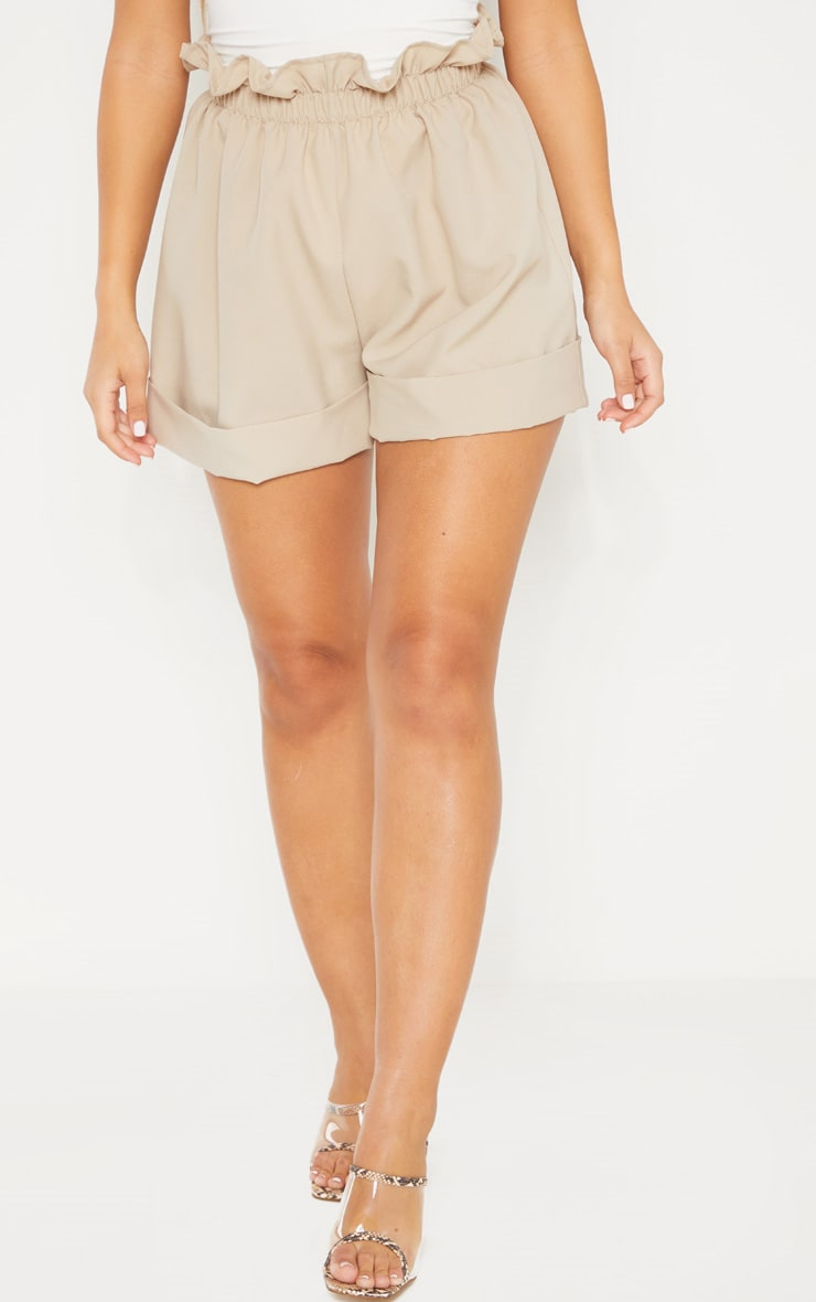 Stone Woven Turn Up Hem Short  2