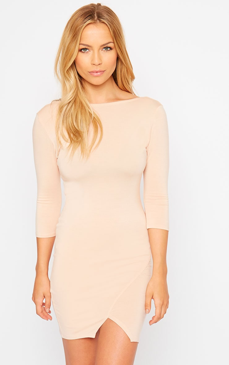 Basic Nude Scoop Back V Hem Dress 4