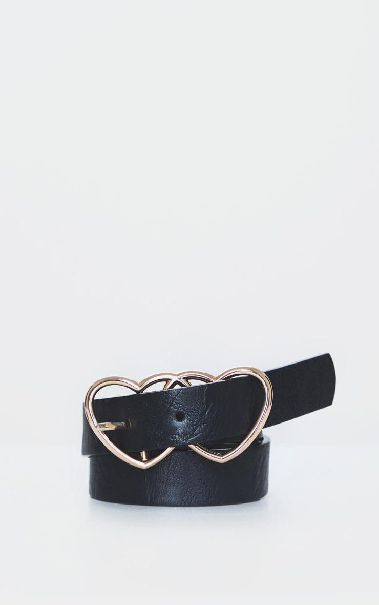 Gold Double Heart Black PU Belt 2