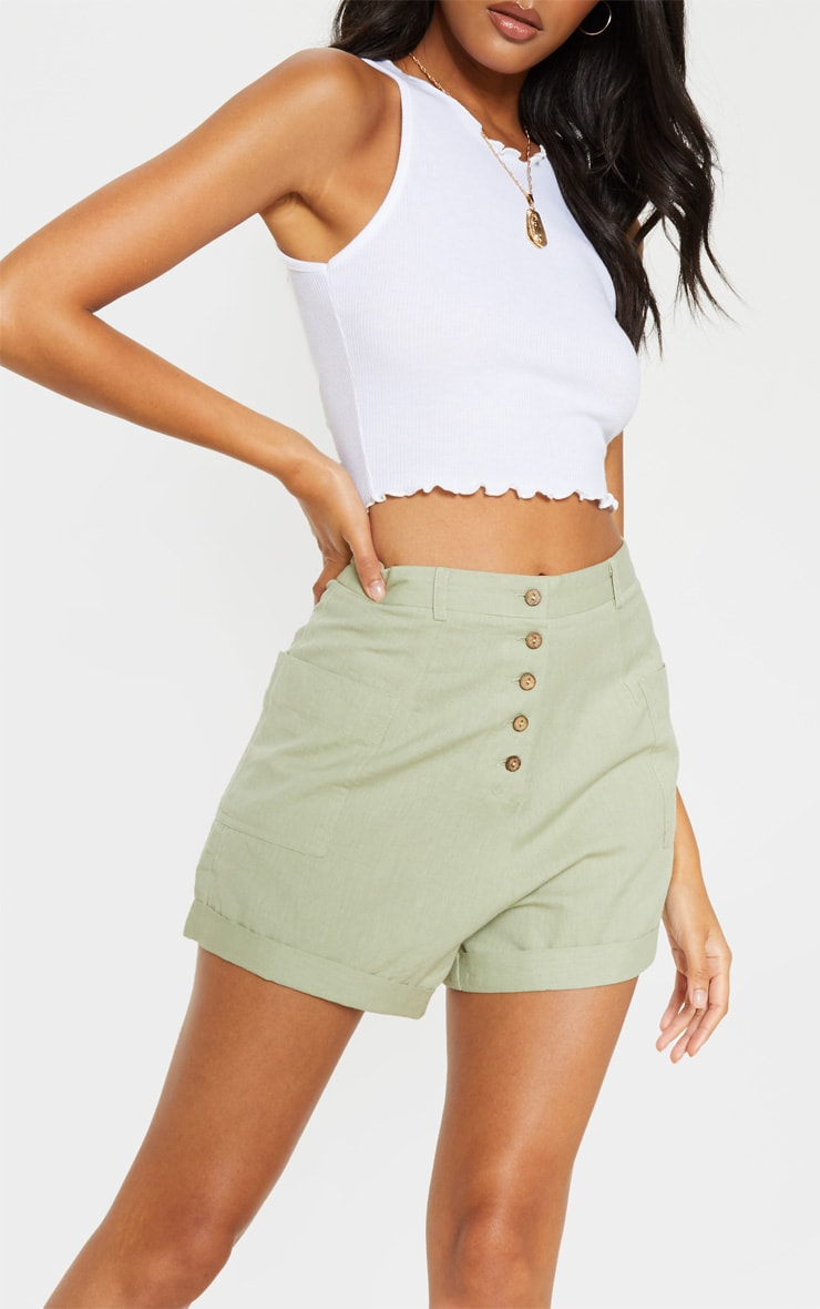 Sage Green Linen Feel Turn Up Hem Tailored Short  6