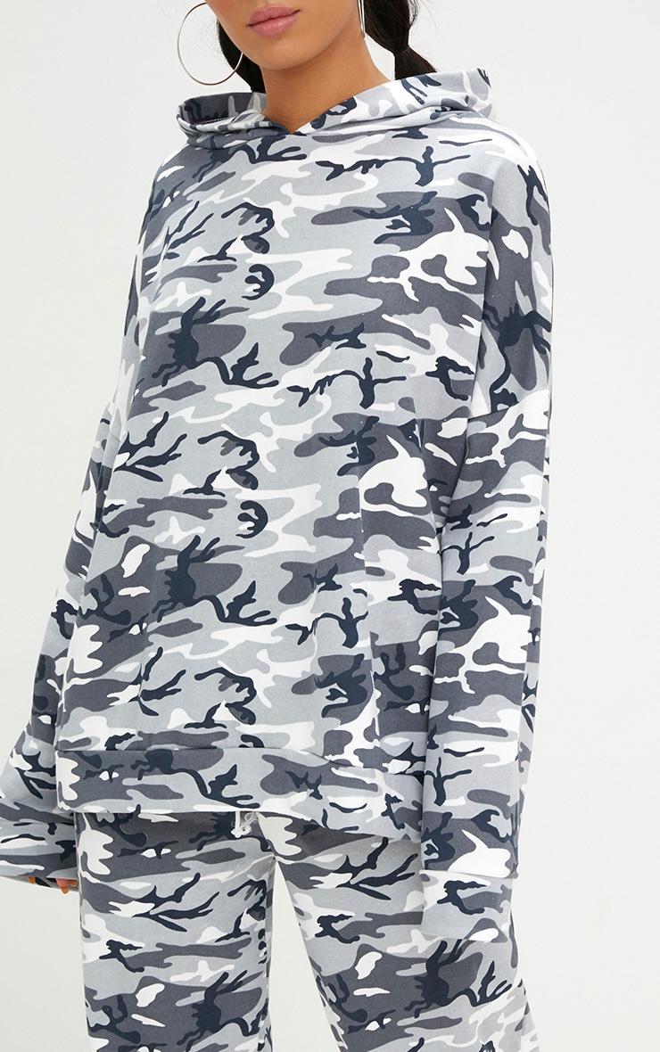 Grey Camo Oversized Hoodie  5