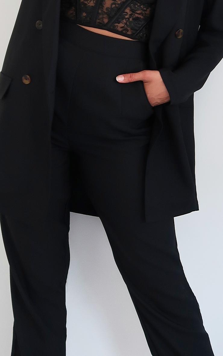 Black Woven Straight Leg Trousers 4