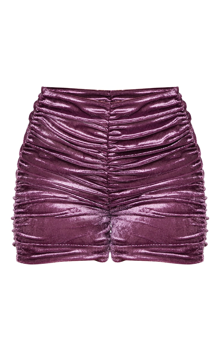 Shape Mauve Velvet Ruched Bike Short 6