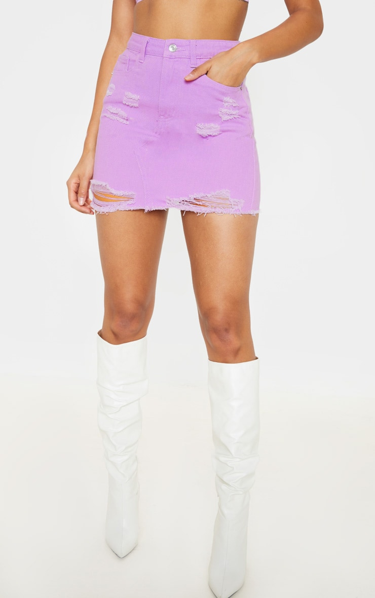 Lilac Distressed Rip Denim Skirt  2