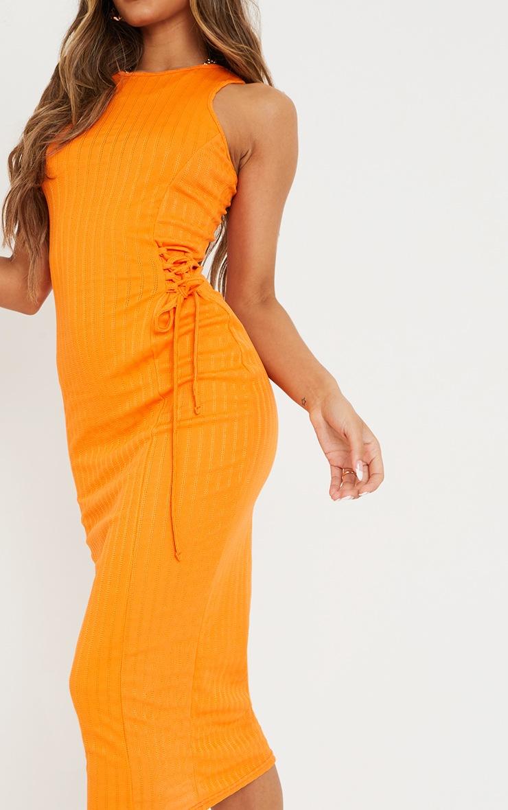 Orange Broderie Rib Sleeveless Midi Dress 4