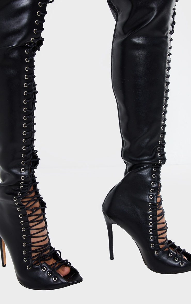 Black PU Extreme Lace Up Thigh High Heeled Boots 3
