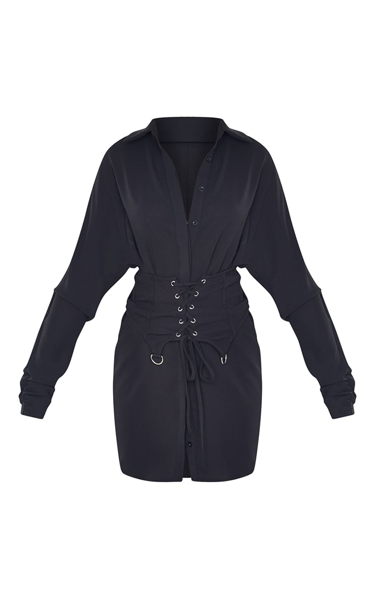 Black Corset Waist Detail Shirt Dress 5