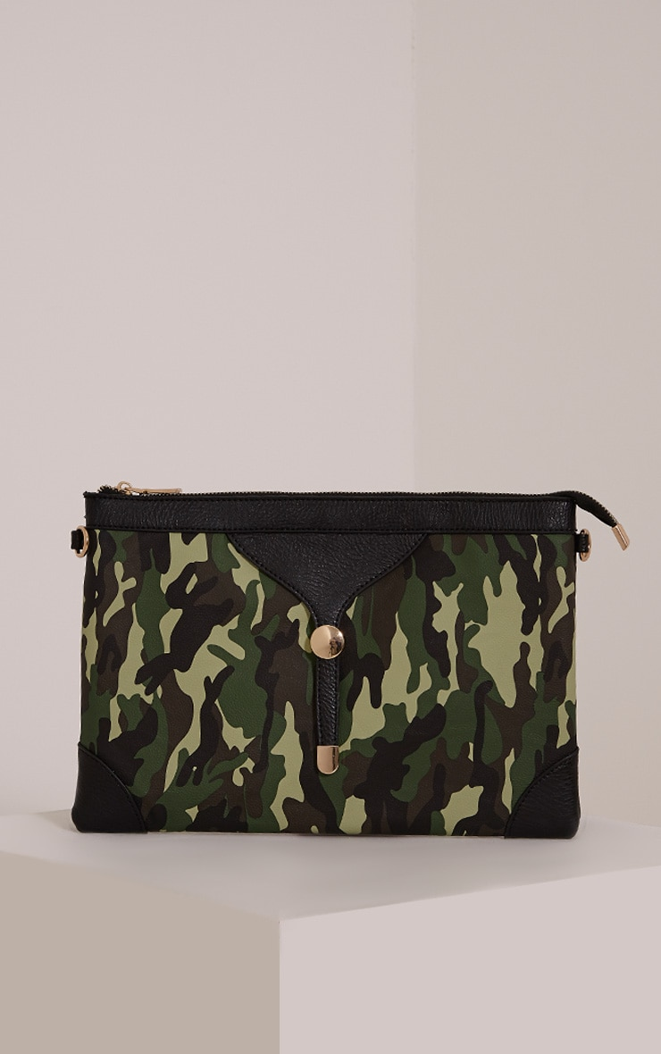 Devin Green Camouflage Clutch Bag 1