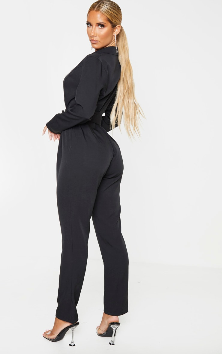 Black Lapel Detail Belted Jumpsuit 2