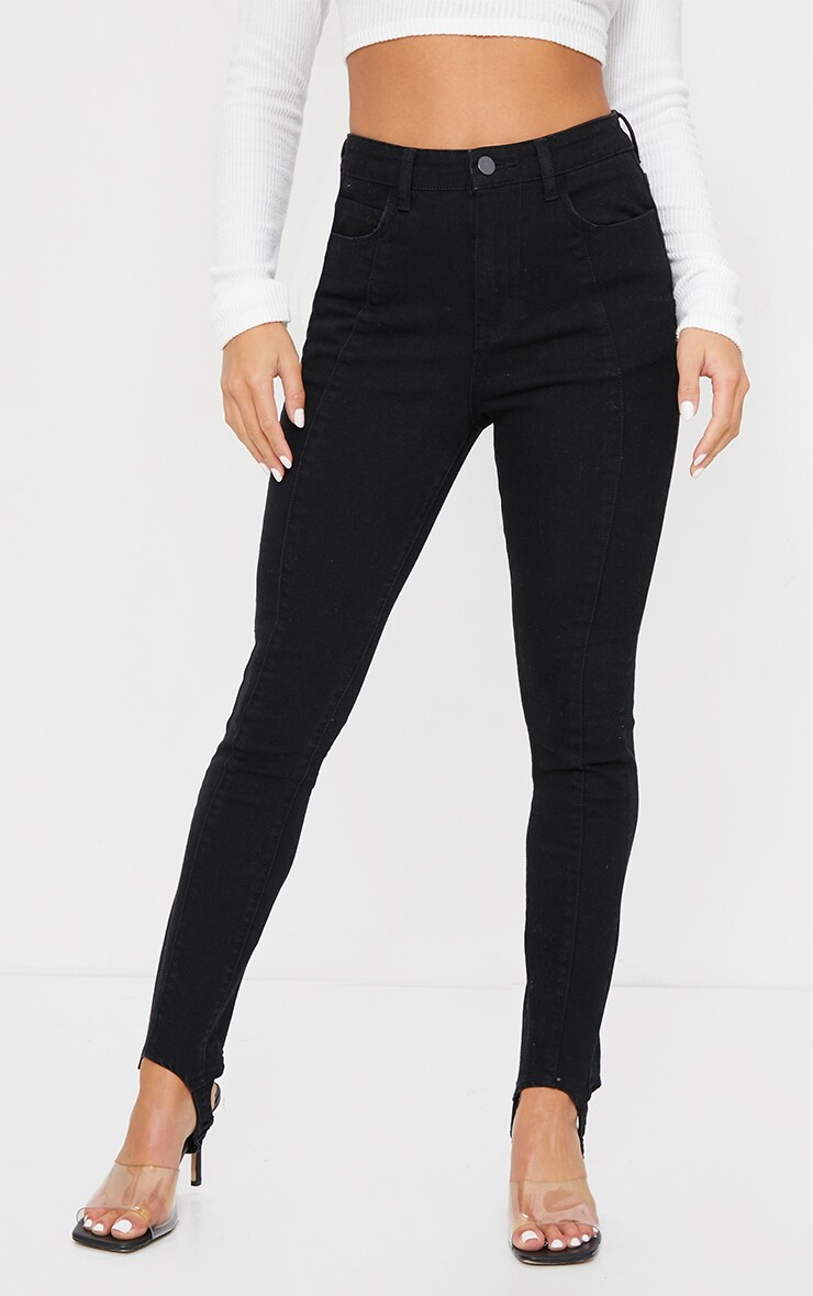 Petite Black Stirrup Stretch Skinny Jeans 2
