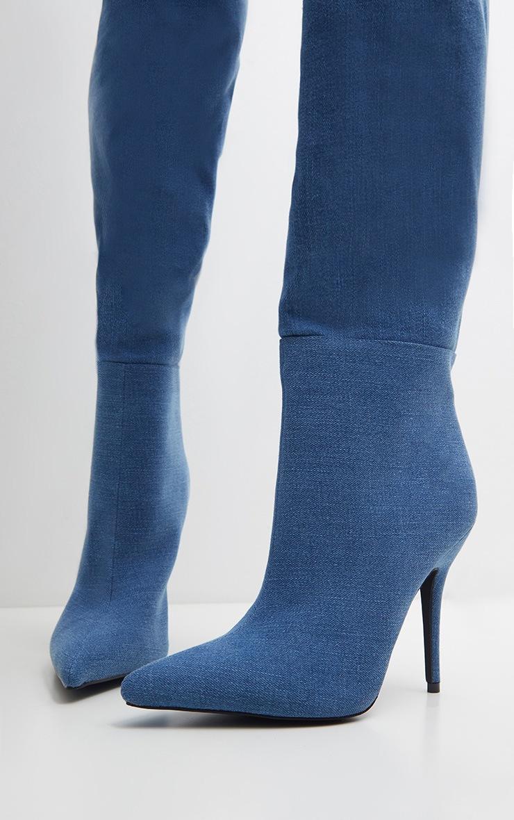 Denim Buckle  Thigh High Boot 3