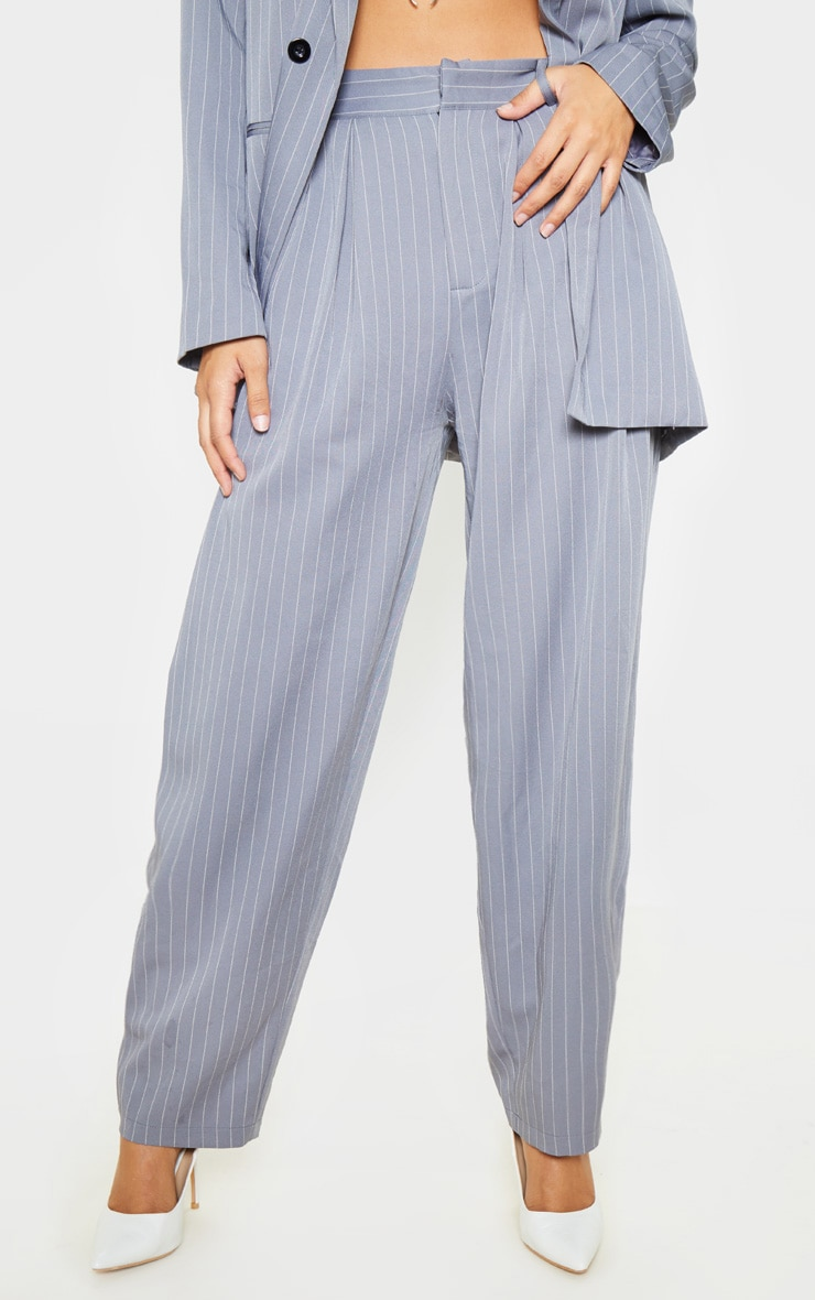 Charcoal Grey Pinstripe Woven High Waisted Cigarette Pants 2