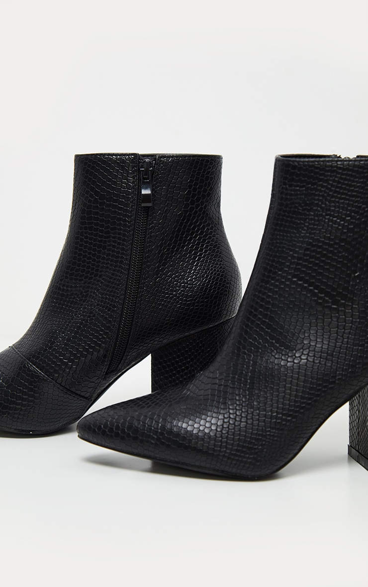 Black Low Block Heel Point Ankle Boot 4