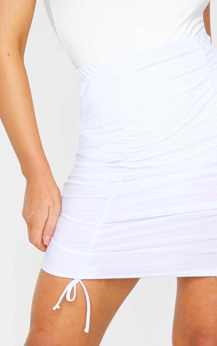 White Ruched Front Detail Mini Skirt 5