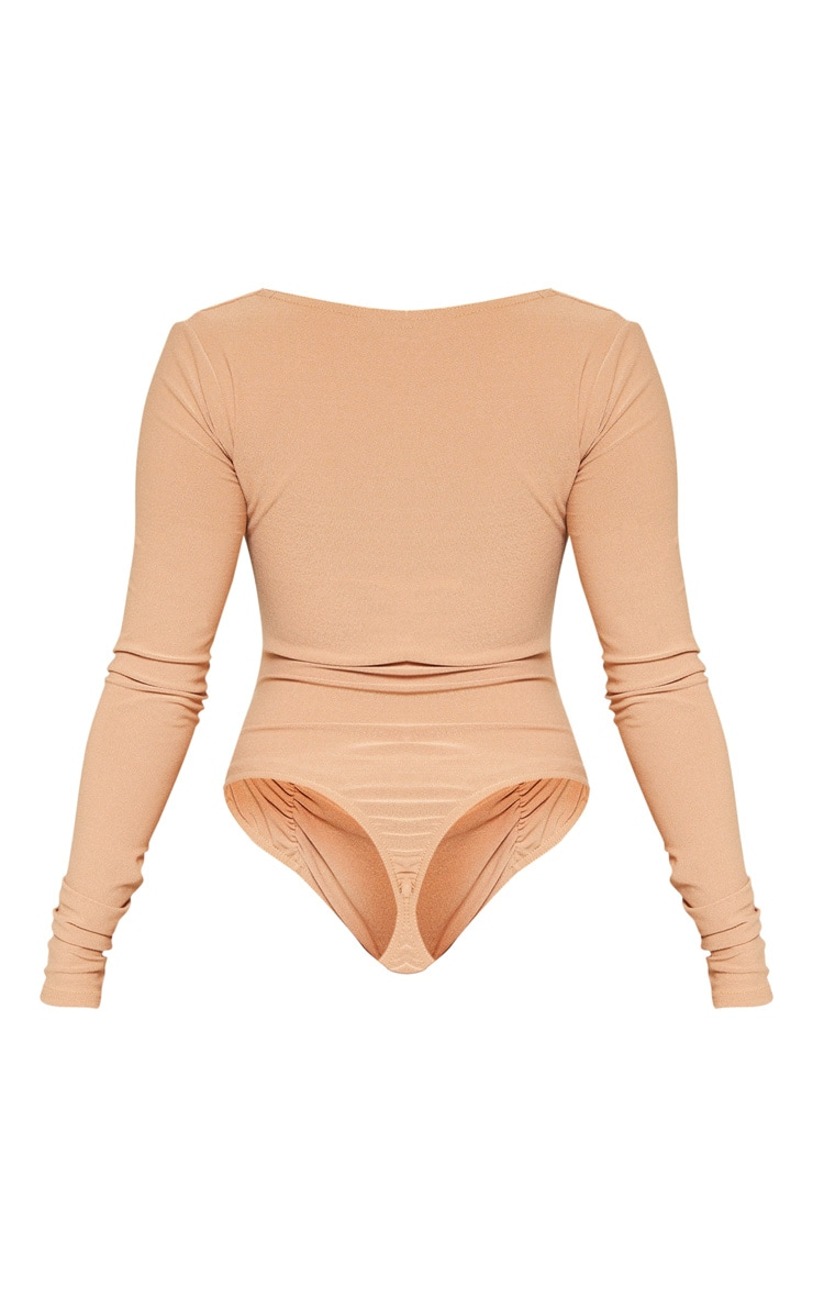 Petite Camel Ruched Long Sleeve Bodysuit 4
