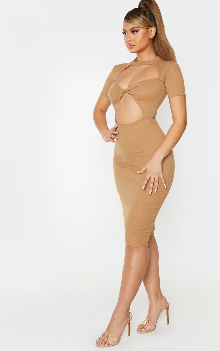 Camel Ribbed High Neck Twist Front Cut Out Midi Dress 3