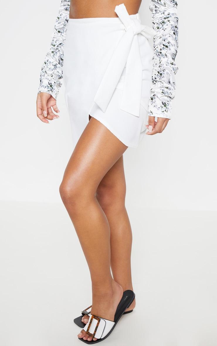 White Wrap Tie Waist Mini Skirt 4
