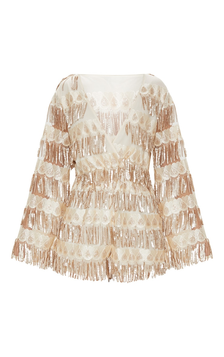 Champagne Tassel Sequin Wrap Front Playsuit 3