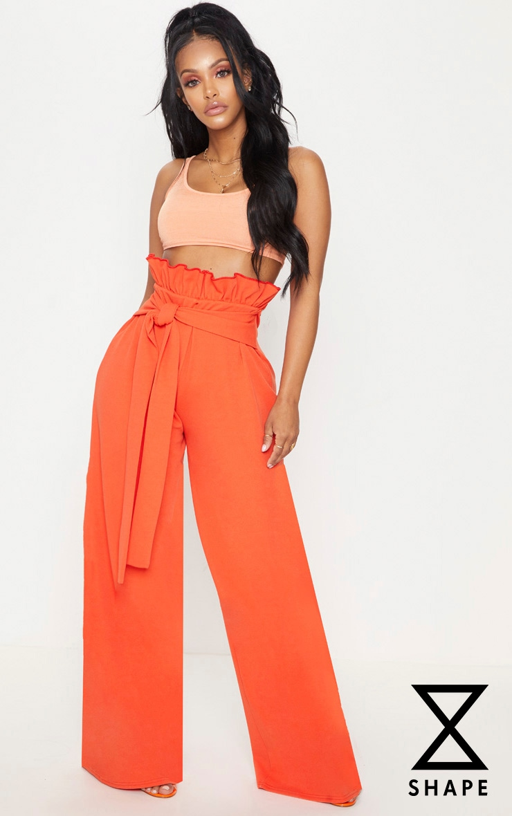 Shape Orange High Waist Paperbag Wide Leg Trousers 1