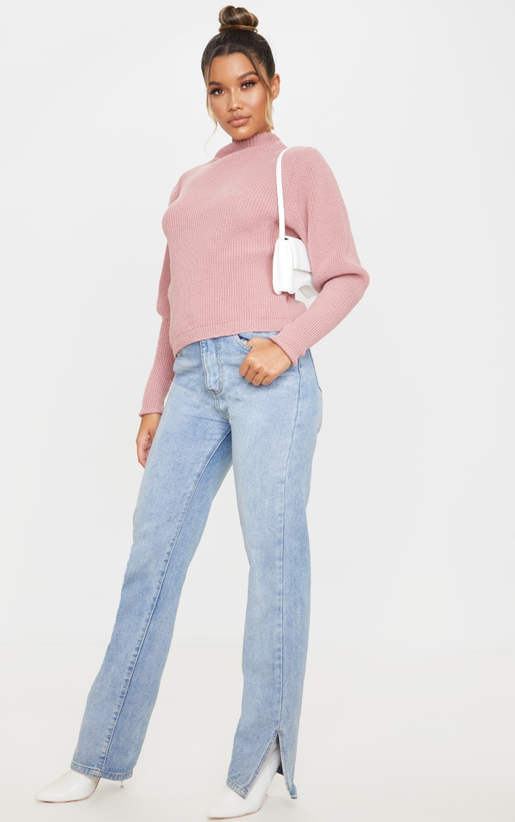 Dusty Pink Puff Sleeve Turtle Neck Jumper 3
