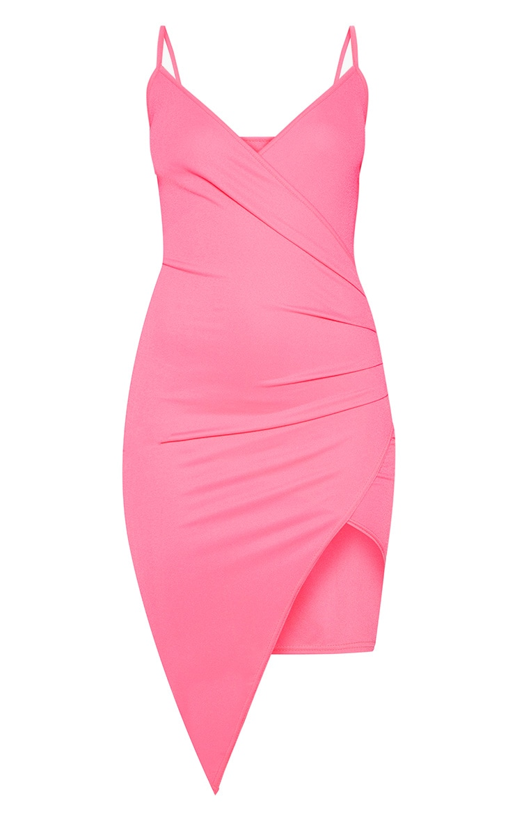 Neon Pink Wrap Front Crepe Midi Dress 3