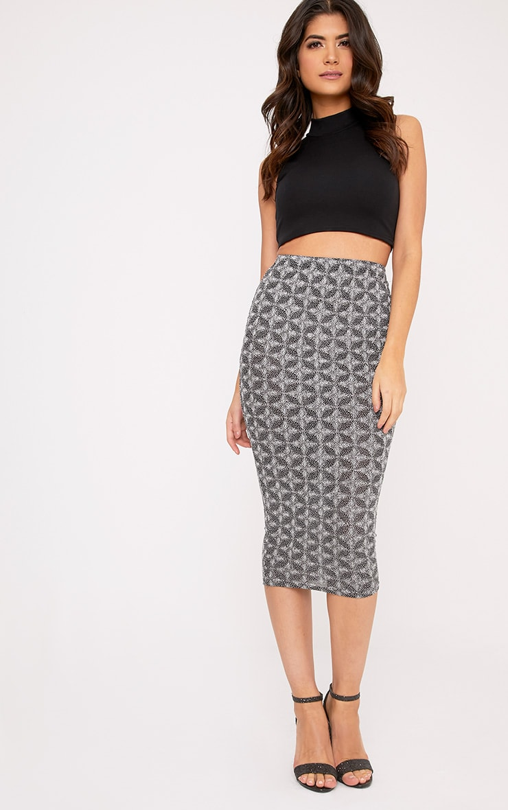 Beattie Silver Glitter Long Line Midi Skirt 1