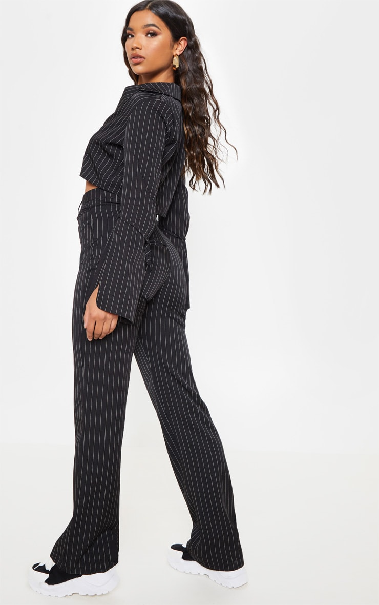 Black Pinstripe Cropped Blazer  3