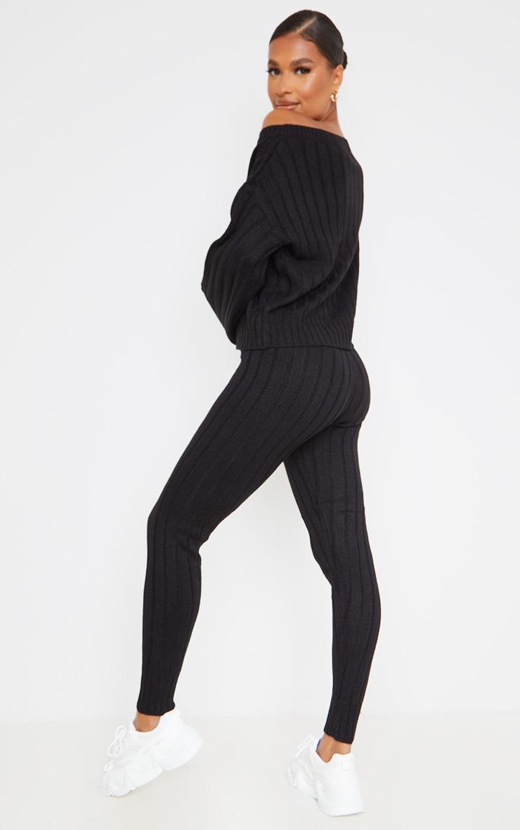 Black Off The Shoulder Sweater And Legging Lounge Set 2