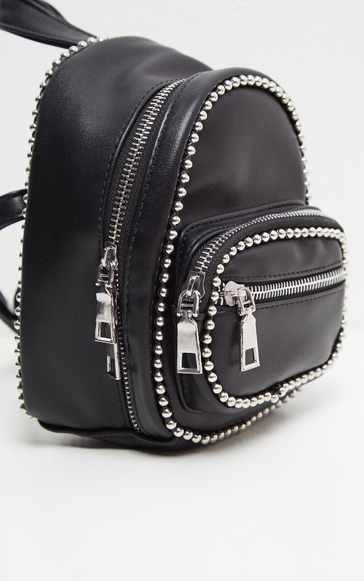 Black Ball Chain Border Mini Rucksack 3
