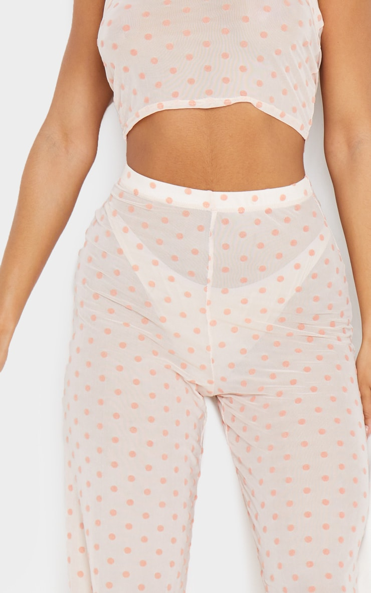 Light Pink Polka Dot Printed High Waist Wide Leg Pants 4