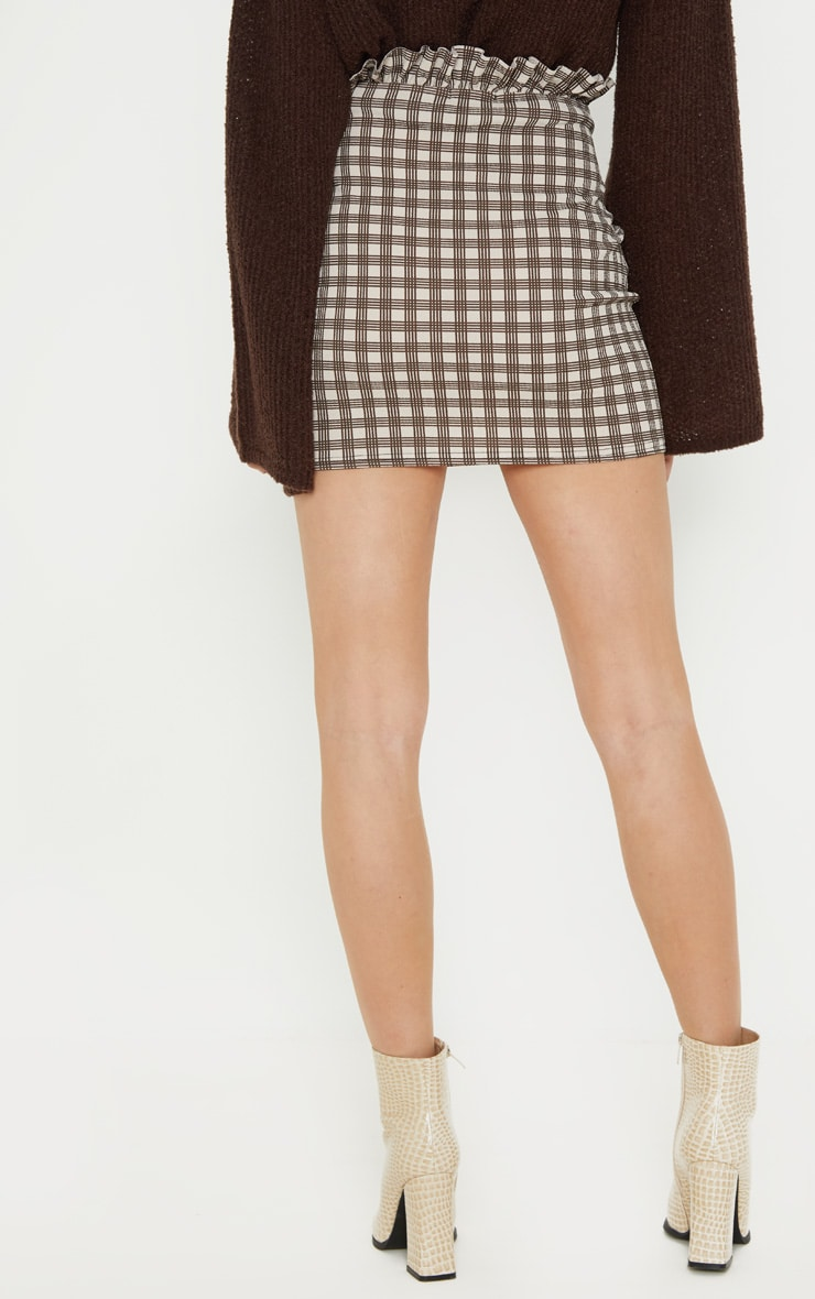Stone Check Paperbag Mini Skirt 4
