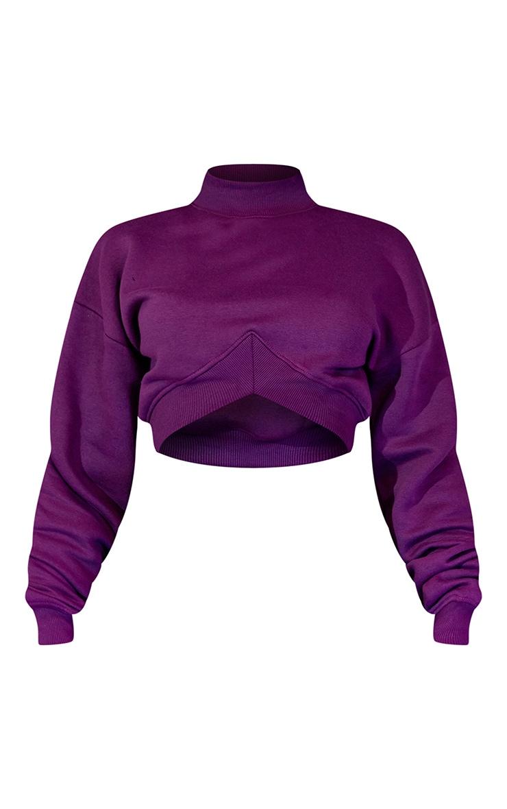Purple High Neck Crop Sweatshirt 6