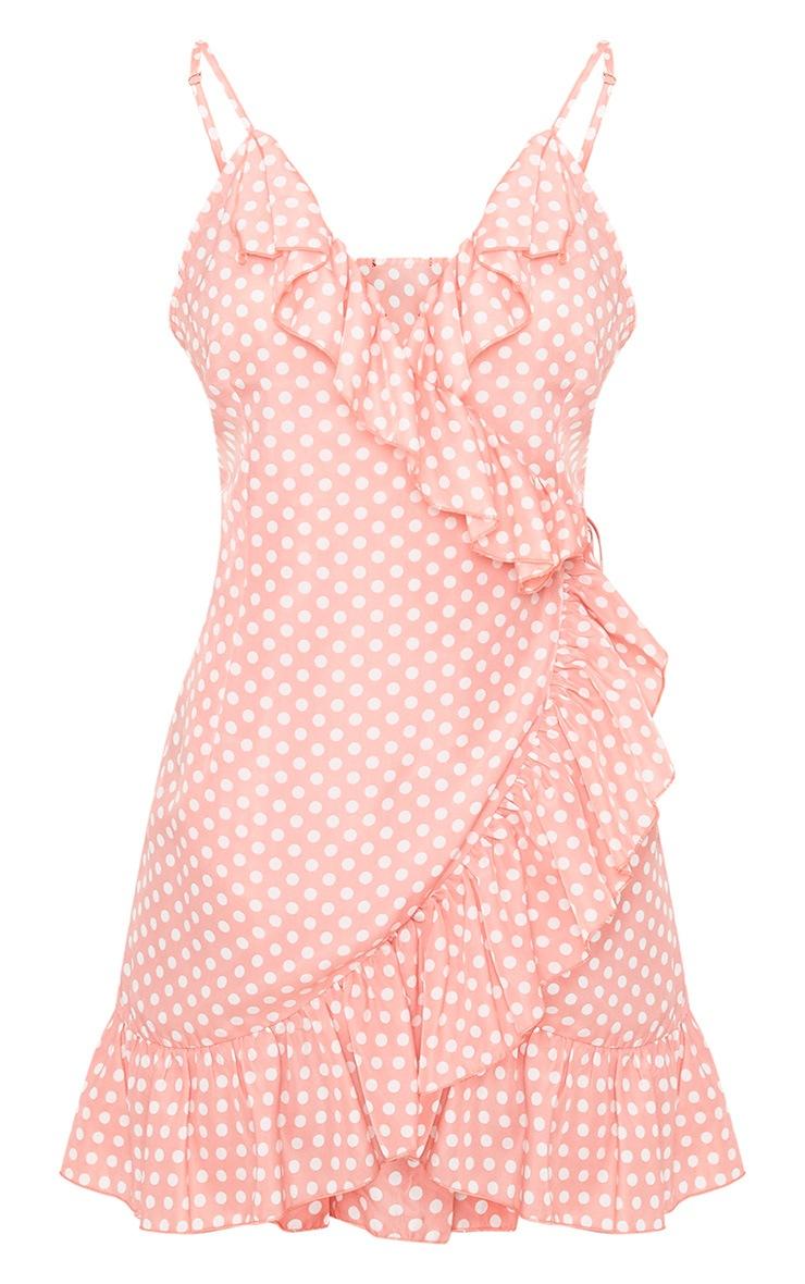 Pink Polkadot Wrap Over Shift Dress 3