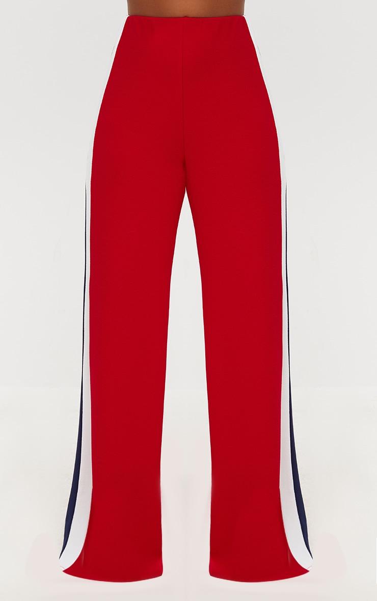 Red Contrast Stripe Wide Leg Trousers 2