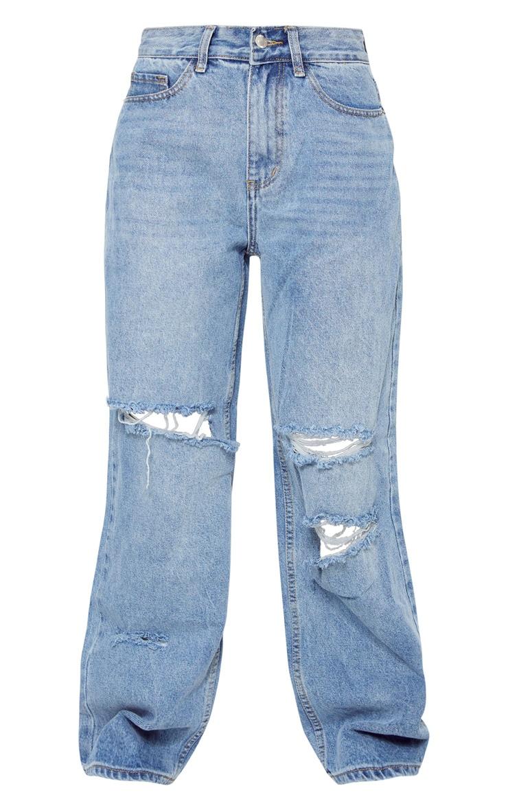 Petite Light Blue Wash Baggy Low Rise Distressed Boyfriend Jeans 5