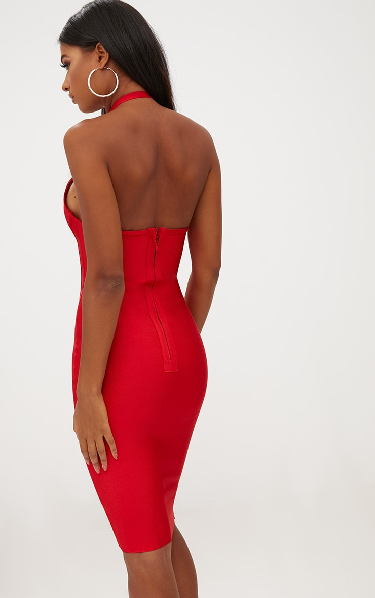 Red Lace Detail Cross Front Bandage Midi Dress 2