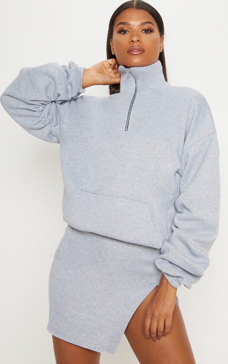 Grey Zip Oversized Ruched Sleeve Sweater 1
