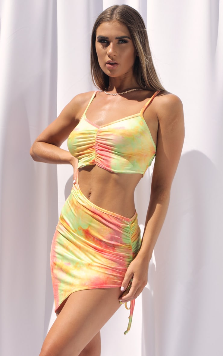 Multi Tie Dye Slinky Cut Out Ruched Bodycon Dress 1
