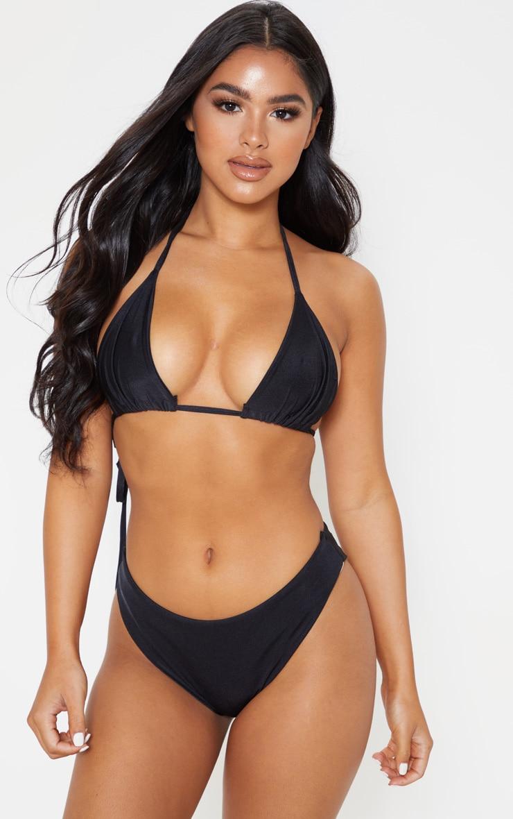 Petite Black Mix & Match Triangle Bikini Top 1