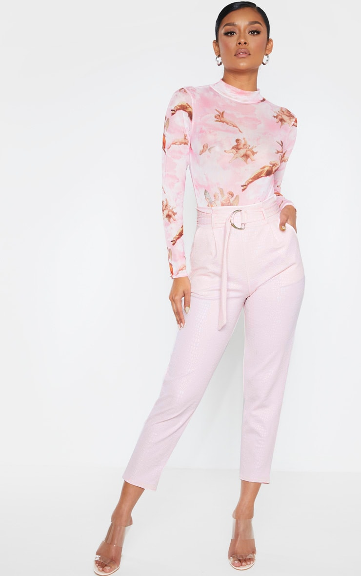 Light Pink Croc Print D Ring Belted Skinny Trousers 1