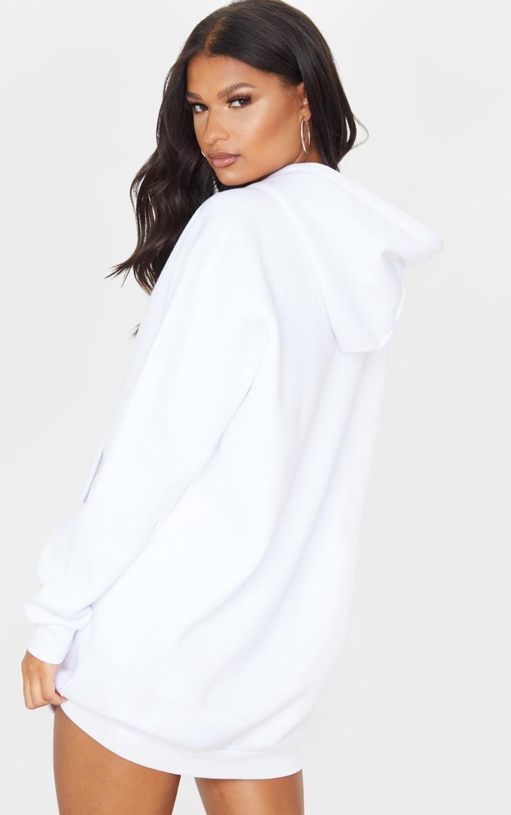 White Oversized Pocket Front Hoodie Jumper Dress 2