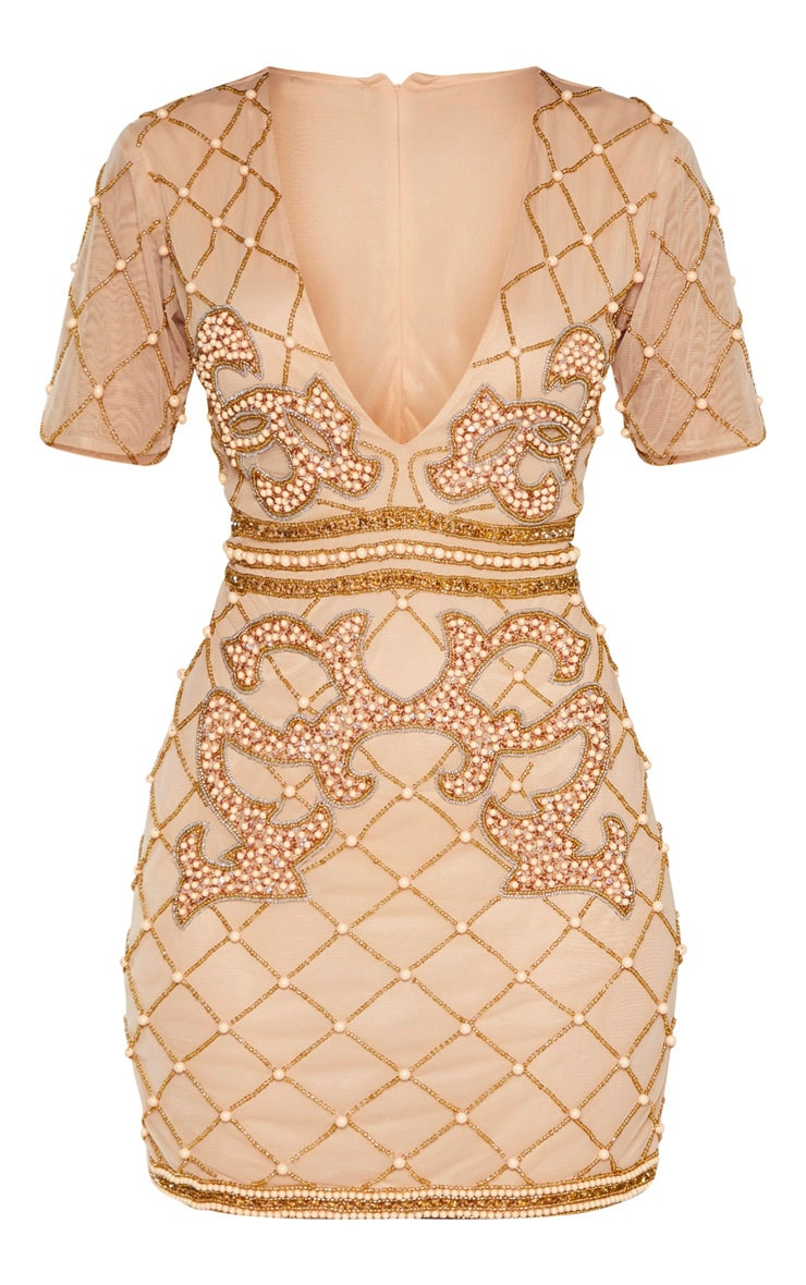 Nude Embellished Beaded Plunge Bodycon Dress 3