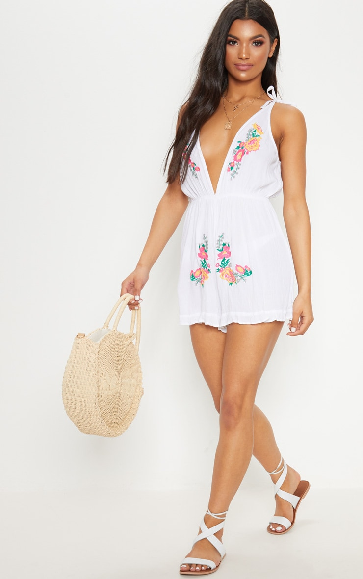 White Embroidered Beach Playsuit 4