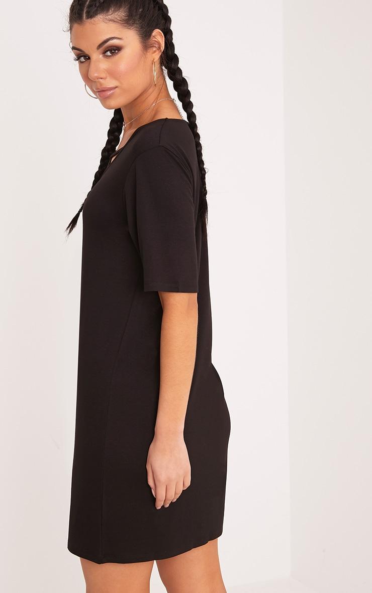 Basic Sinders Black Jersey Cross Front Oversized T shirt Dress 2