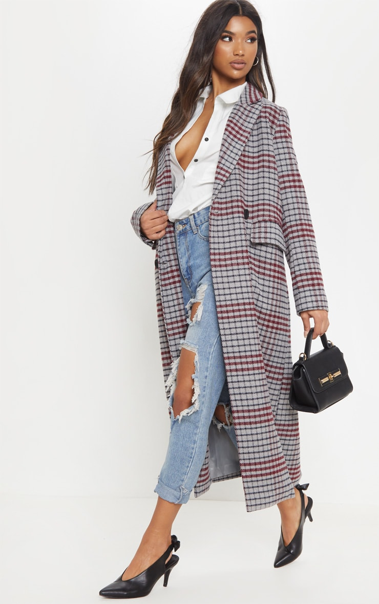 Grey Check Maxi Coat  4