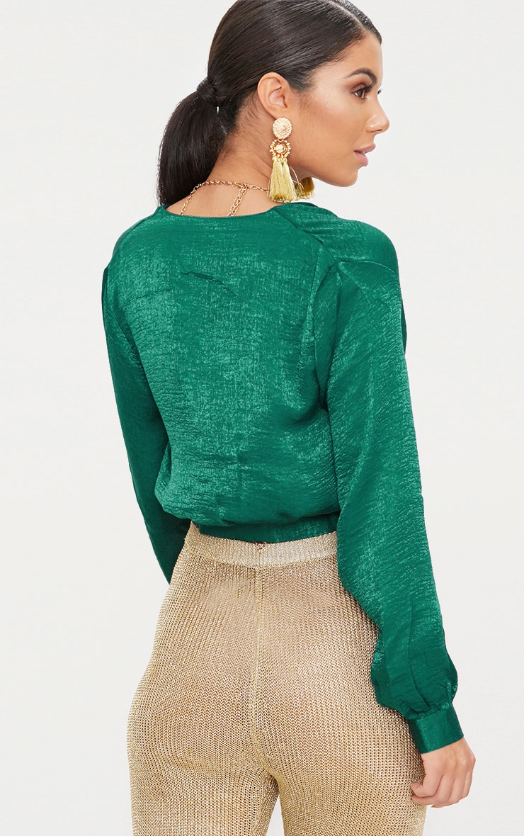 green Satin Button Front Crop Shirt  2