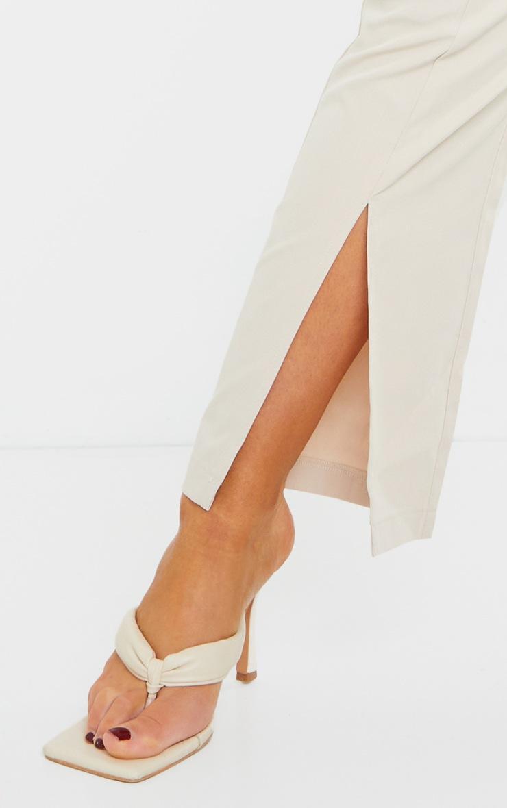 Stone Woven Cropped Split Hem Skinny Trousers 4
