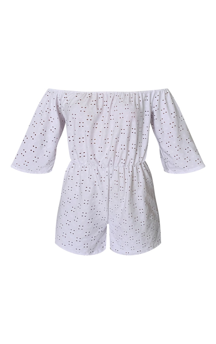 White Bardot Broderie Anglaise Playsuit 5