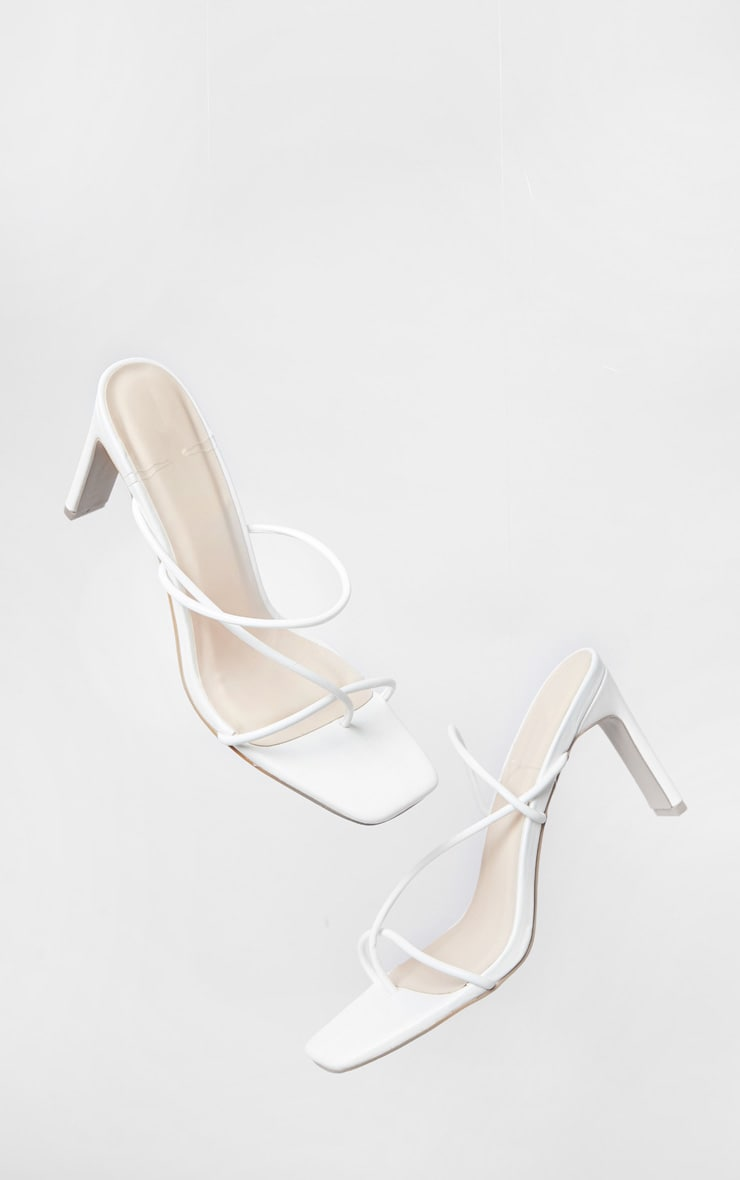 White Triple Strap Flat Heel Square Toe Thong Mules 3